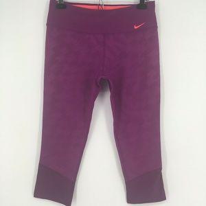 Nike  Pants Athletic Workout Crops Purple Mesh Hem